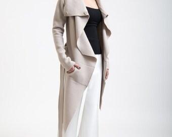 Light Wool Sweater Jacket / Asymmetrical Wool Jacket / Stylish by