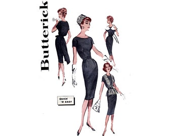 60s Sheath Dress Pattern Butterick 9006 Oversized Collar Back Bow Overblouse Vintage Sewing Pattern Size 16 Bust 36  UNUSED Factory Folded