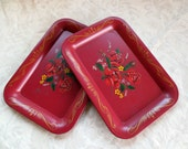 2 Roses Red Floral Metal Small Vintage Snack Trays