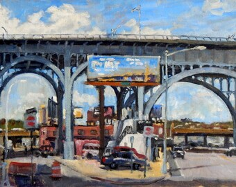 Bright and Sunny, West 125th Viaduct, NYC. 12x20 Realist Oil on Canvas, Impressionist Fine Art, Signed Original New York City Oil Painting