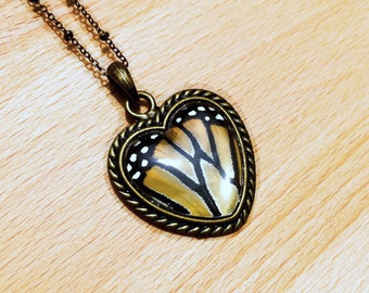 Anniversary gifts for women Real Monarch butterfly Gold Butterfly Necklace Anatomical heart necklace Love jewelry Taxidermy insect wing