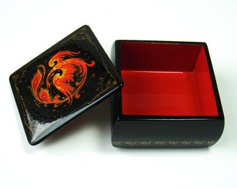 "Vintage Palekh Lacquer Trinket Box ""The Firebird"" - Hand Painted Russian Miniature Box - Signed by the artist - Russian folk art"