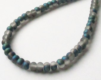 """Gray Blue Rondelle Beads - Unpolished Matte Metallic - Center Drilled Glass Beads - 16"""" strand - 100 Beads - 6mmx4mm - DIY Jewelry Making"""