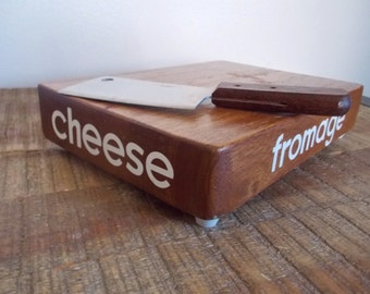1970s Mini Butcher Block Cheese Fromage Board with Mini Cleaver