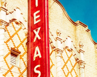 Texas Art, Theatre Sign, Fine Art Photography, Retro Sign, Wall Decor, Neon, Red and Turquoise, Historical Architecture, Old Sign, Art Deco