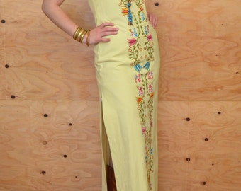 Vintage 60's Buttery Yellow Boho Embroidered Floral Maxi Summer Dress SZ M