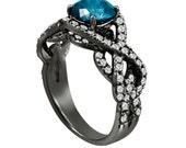 Fancy Blue Diamond Engagement Ring 14K Black Gold Vintage Style 1.90 Carat Certifid Unique Handmade