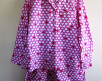 Flannel Pajamas Hearts Valentine's Day Retro Pink Red Plus Size Womens - Size Large