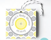 Printable Cute as a Button Favour Tags