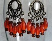 Boho Earrings, Gypsy Earrings, Dangle Earrings, Orange and Brown, Shabby Chic Jewelry, Bohemian Jewelry, Gypsy Jewelry, Shabby Chic Earrings