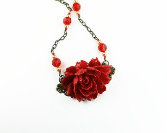 Red Rose Necklace with Red Czech Crystals & Glass Pearls