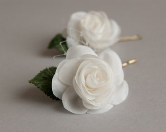 Wedding hair piece, Bridal hair piece, Rose hair flowers, Rustic hair flowers set of 2, Bridal hair accessories