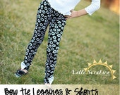 Bow Tie Leggings & Shorts Girls PDF Sewing Pattern - Knit Pants/Shorts with Four Lengths in Both Traditional and Slim Fit