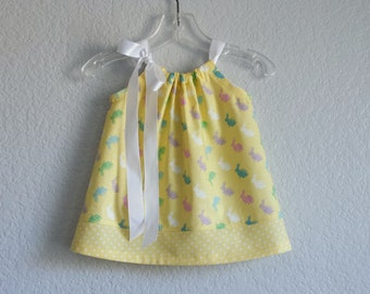 New! Baby Girls Easter Dress - Lemon Yellow with Colorful Bunnies & Polka Dots - Easter Dress and Bloomers - Size Nb, 3m, 6m, 9m, 12m or 18m