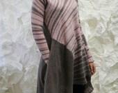 Tunic dress knitted grey pink sweet candy mohair felt felted stripe free form  Regina Doseth handmade EU