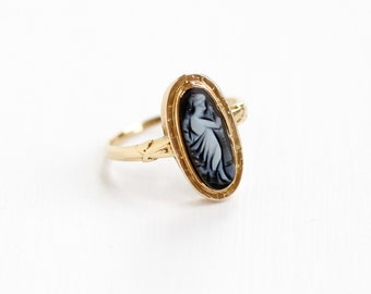 Sale - Antique 14k Rose Banded Agate Full Figure Cameo Ring - Victorian Late 1800s Carved Female Silhouette Size 7 Black and White Jewelry