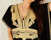 Eid Black with Gold Marrakech Resort Caftan Kaftan - beach cover ups, resortwear,loungewear, maxi dresses, birthday gifts