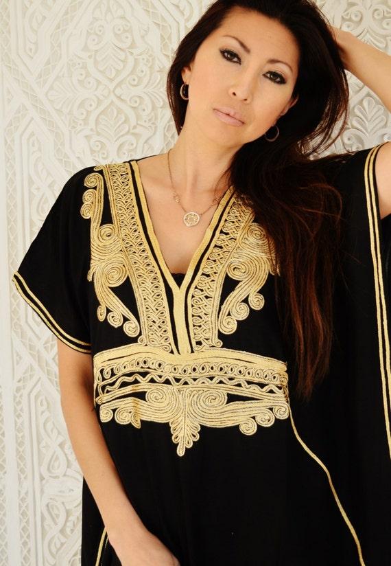 Eid Black with Gold Marrakech Resort Caftan Kaftan - beach cover ups, resortwear,loungewear, maxi dresses, birthday gifts