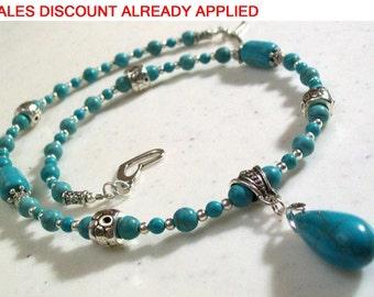 Turquoise Jewelry, Tear Drop Pendant, Turquoise Necklace Set, Turquoise Jewelry, Dainty Necklace, 2 Piece Set