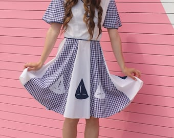 the alexis vintage 50s anchor day dress blue white nautical sailboat embroidery gingham small xs petite rockabilly pinup mod