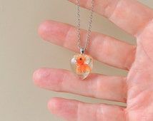 SALE: Small Goldfish Necklace, Whimsical Fish Swimming in Resin Heart Pendant, Resin Jewelry, Fish Jewelry, Whimsical Jewelry, UK (1363)