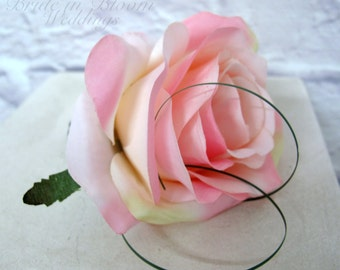 Pink rose Boutonniere, Wedding Boutonnieres