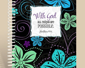 With God All Things are Possible Prayer Journal / Lined Notebook / Matthew 19:26