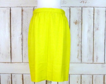 Vintage textured silk Evan Picone neon yellow midi pencil skirt/bright yellow silk skirt