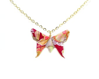 Origami Butterfly Necklace Potpourri Pink