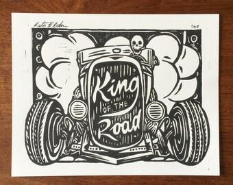 King of the Road - Linoleum Block Print