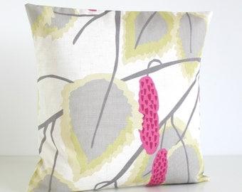 Scandinavian Pillow Cover, 16 Inch Pillow Sham, 16x16 Cushion Cover, Cotton Pillows, Floral Pillowcase, Sofa Pillow - Catkins Rose