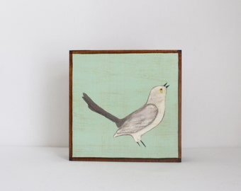 woodland nursery art- mockingbird art print- forest animals- nursery woodland art- animal print- nursery forest -bird decor- redtilestudio
