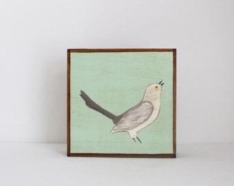 mockingbird wall art- nursery wall decor- rustic kids room decor- green nursery- art block -redtilestudio