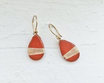 Red Jasper Gold Earrings