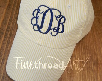 SALE LADIES Monogram Seersucker Baseball Cap Hat Mom Bridesmaid Bride Bachelorette Summer Beach Hat