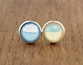 rain cloud and umbrella mis-matched stud earrings, fake plugs, weather jewelry, artisantree