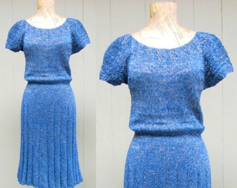 Vintage 1950s Dress / 50s Blue Silver Metallic Knit Bombshell Wiggle Dress / Small