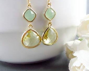 Citrine Earrings, Mint Earrings, Long Earrings, Gold Earrings, Statement Earrings, Bridal Jewelry, November Birthstone, Stone Earrings, Drop
