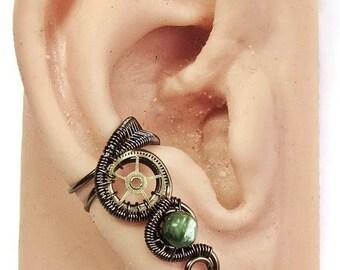 Seraphinite & Bronze Small Steampunk Ear Cuff - Steampunk Jewelry