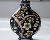 Chinese Enamel Cloisonne Snuff Bottle Cherry Blossoms Vintage Asian Collectible