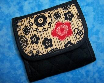Women Wallet - Tea Wallet Tea Bag Holder Travel Tea Bag Wallet Floral Vegan Wallet Fabric Wallet Tea Bag Carrier Small Ladies Wallet Velcro