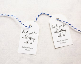 Wedding Favor Tag - Thank You For Celebrating With Us, Party Favor, Thank You Tag, Personalized Tags, Set of 25 (SMGT - CAN)