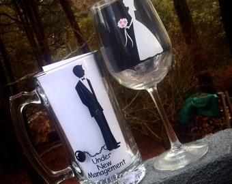 Wedding Wine and Beer glasses, under new management, bride and groom