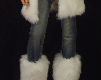 Faux Fur Leg Warmers Boot Covers In White Angora Style: FG101