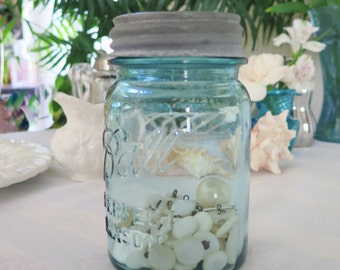 Vintage Blue Glass Ball Canning Jar Zinc Lid With 50 Antique Mother Of Pearl Shell Buttons