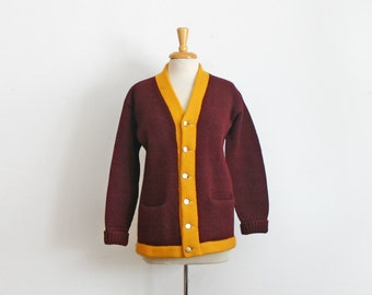 1950s Stadium Letterman Sweater Wool Shaker Sweater in maroon and yellow size small