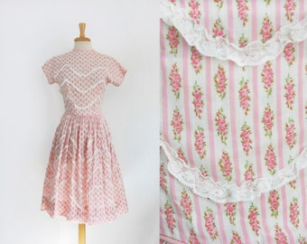 1950s pink roses floral chintz cotton garden party dress size small