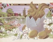 Metallic Easter Greetings- 1910s Antique Postcard- Gold, Silver, Bronze- Hatching Chick- Art Nouveau- Edwardian Easter Decor- Paper Ephemera