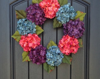 Hydrangea Wreath Spring Wreath Summer Wreath Grapevine Door Wreath Decor Pink Purple Turquoise Hydrangea Wreath Indoor/Outdoor Decoration