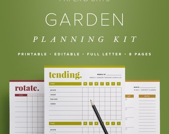 Garden Planning Kit, Editable Garden Calendars & Crop Planner, Garden Journal, Outdoor Planner  //  Household PDF Printables